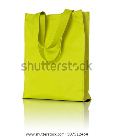 yellow shopping fabric bag on white background