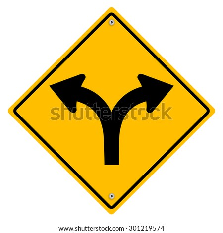 Yellow sign with arrows. - stock photo