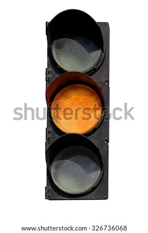 yellow signal of the traffic light in isolation - stock photo