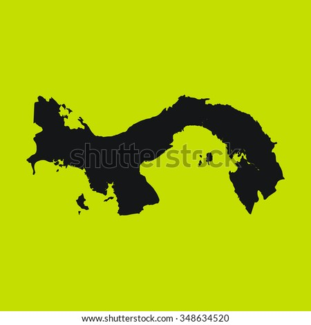 Yellow Silhouette of the Country Panama