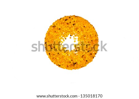 yellow silica gel on white background - stock photo