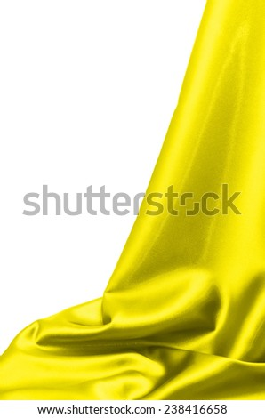 yellow silk drape isolated on white