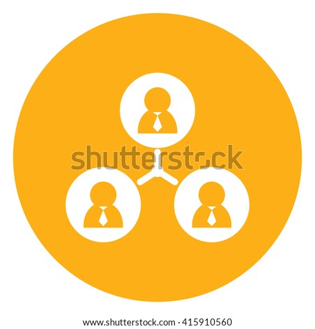 Yellow Simple Circle Business Connection Flat Icon, Sign Isolated on White Background  - stock photo