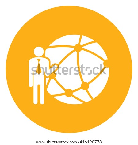 Yellow Simple Circle Businessman With Worldwide, Business Connection, Social Network, Global Communication Infographics Flat Icon, Sign Isolated on White Background  - stock photo