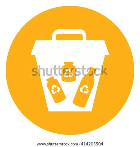 Yellow Simple Circle Glass Recycle Bin Infographics Flat Icon, Sign Isolated on White Background - stock photo