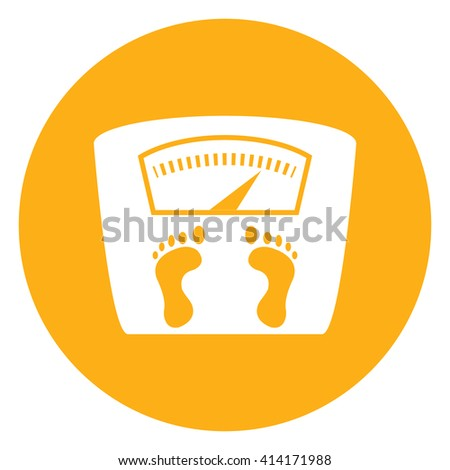 Yellow Simple Circle Weight Scale Infographics Flat Icon, Sign Isolated on White Background - stock photo