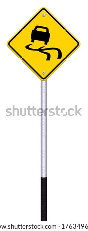 Yellow slippery road sign, isolated on white background,   - stock photo