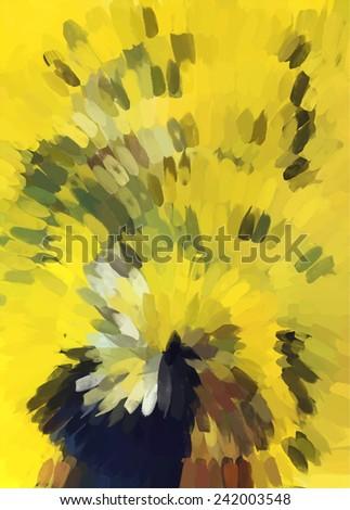 Yellow small brush strokes background - stock photo