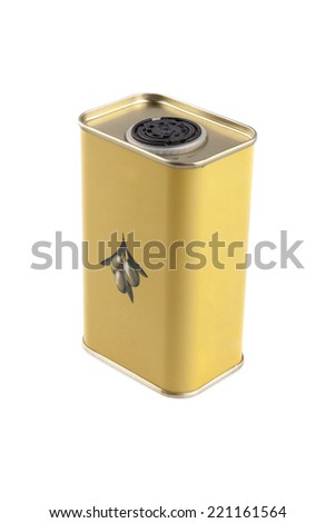 Yellow small tin of olive oil for healthy food - stock photo