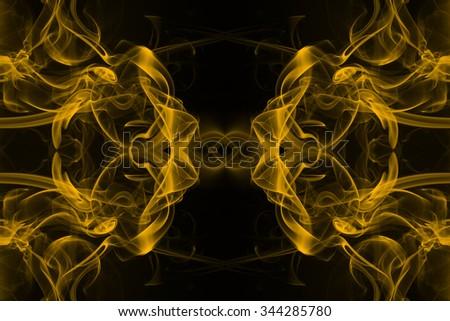 Yellow smoke background - stock photo