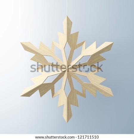 yellow snowflake on white background - stock photo