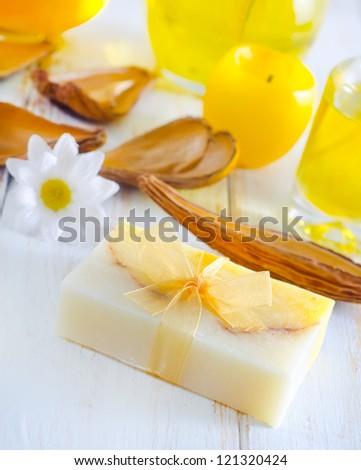 yellow soap - stock photo
