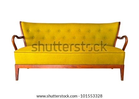 yellow sofa isolated with clipping path