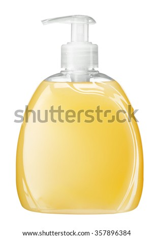 Yellow soft soap / Liquid soap bottle with pump / studio photography of transparent bottle with yellow liquid - isolated on white background - stock photo