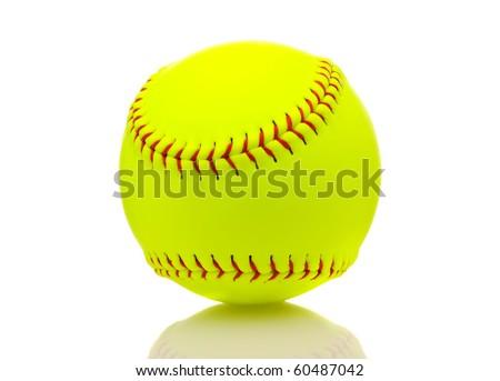 Yellow Softball Image Yellow Softball on White