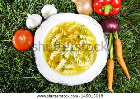 Yellow soup with macaroni on grass. Garden party symbol. Fresh vegetables around the plate. - stock photo