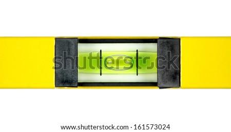 Yellow spirit level. Close up image. - stock photo