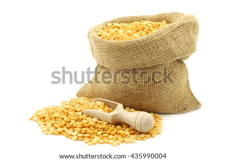 yellow split peas in a burlap bag with a wooden scoop on a white background - stock photo