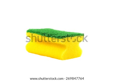 Yellow sponge for washing utensils isolated on a white background - stock photo