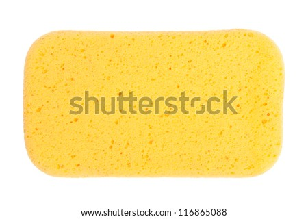 Yellow  Sponge isolated on white background - stock photo