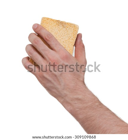 Yellow Sponge with white background, hand of an adult man