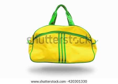 Yellow sports bag on white background,with clipping path - stock photo