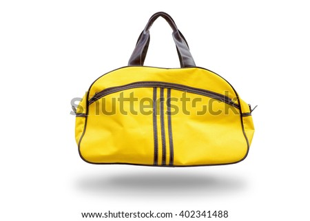 Yellow sports bag,with clipping path - stock photo