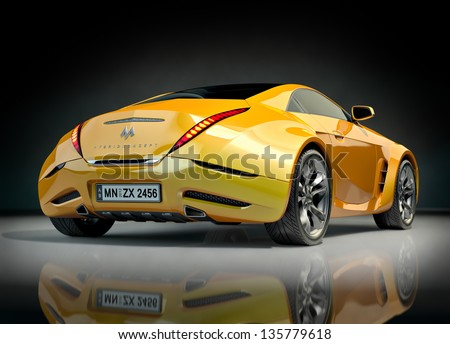 Yellow sports car. Non-branded car design. - stock photo