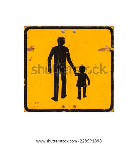 Yellow square children warning road sign isolated on white background - stock photo