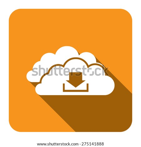 Yellow Square Cloud Computing With Download Flat Long Shadow Style Icon, Label, Sticker, Sign or Banner Isolated on White Background - stock photo