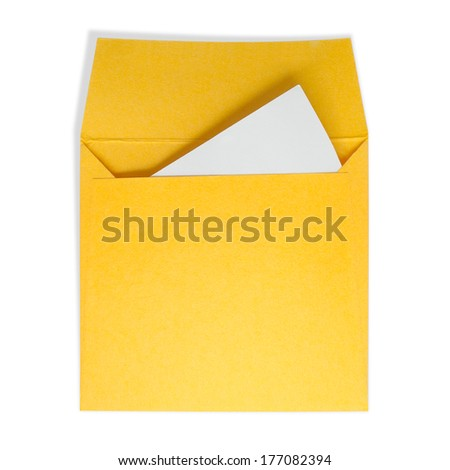 Yellow square envelopes. A white paper inside on a white background with clipping path. - stock photo