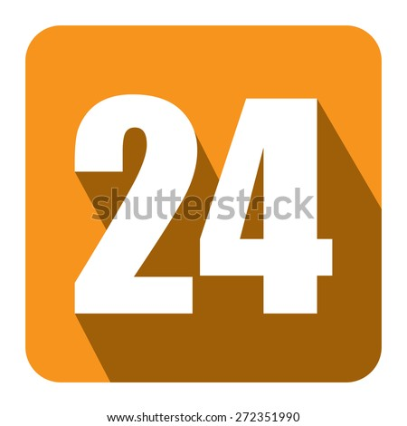 Yellow Square 24, 24HR, 24HRS, 24 Hours Service, 24 Hours Open Long Shadow Style Icon, Label, Sticker, Sign or Banner Isolated on White Background - stock photo