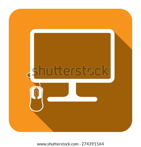 Yellow Square PC Computer Monitor with Mouse Flat Long Shadow Style Icon, Label, Sticker, Sign or Banner Isolated on White Background - stock photo