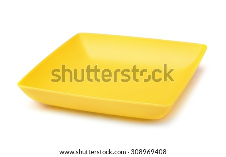 Yellow square plastic plate isolated on white - stock photo
