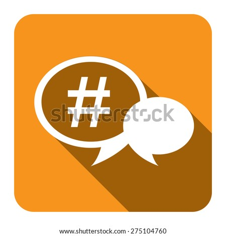 Yellow square speech bubble with hashtag flat long shadow style icon label sticker