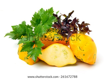 Yellow Squash Pattypan with different lettuce, water-cress, spinach, parsley isolated on white - stock photo