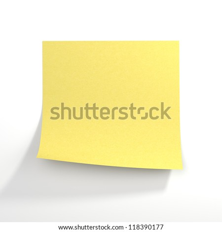 Yellow stick note. Front view