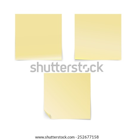 Yellow stick note isolated on white background, vector illustration - stock photo