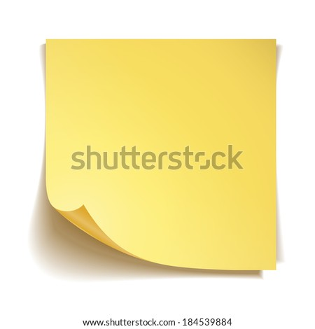 Yellow stick note paper on white background - stock photo