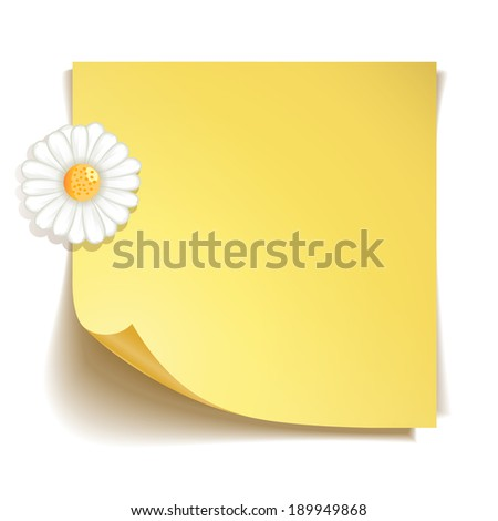 Yellow stick note paper with camomile flower on white background - stock photo