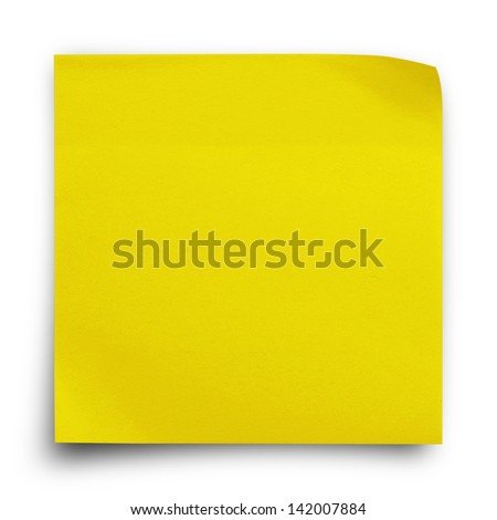 Yellow sticker paper note on white background - stock photo