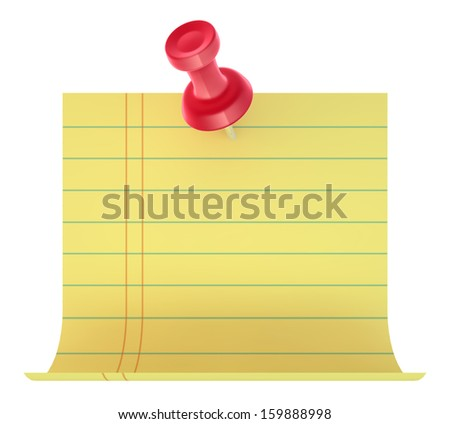 Yellow sticker with red pin  - stock photo
