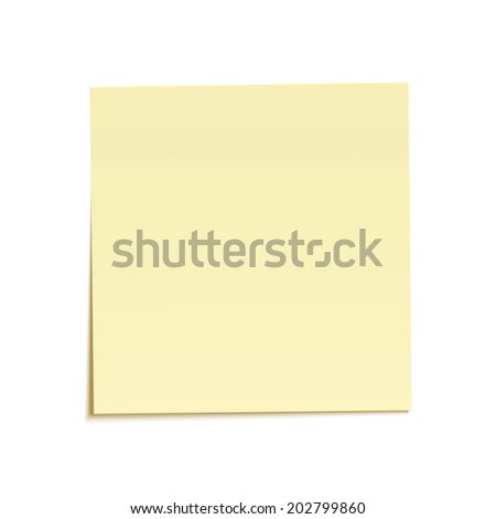 Yellow sticky note isolated on white background - stock photo