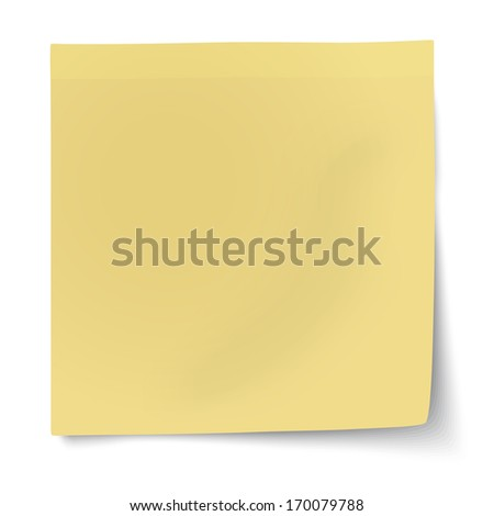 Yellow sticky note isolated on white background. Raster version illustration. - stock photo