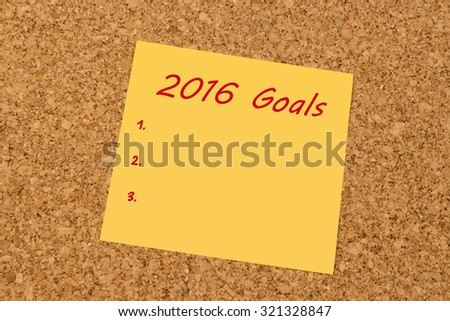 Yellow sticky note on an office cork board - New Year 2016 Goals list