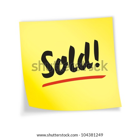 "Yellow sticky note ""sold"", illustration"