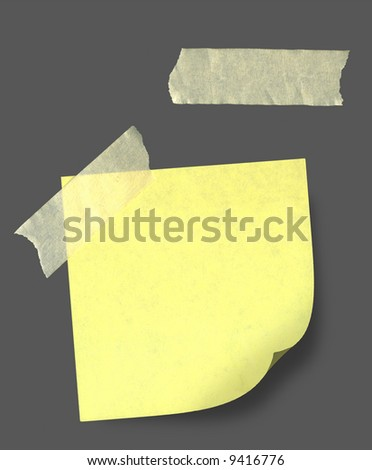 yellow sticky note tape - stock photo