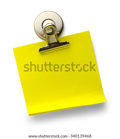 Yellow Sticky Note with Magnetic Metal Paper Clip Isolated on a White Background. - stock photo
