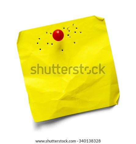 Yellow Sticky Note with Multiple Holes Isolated on a White Background. - stock photo