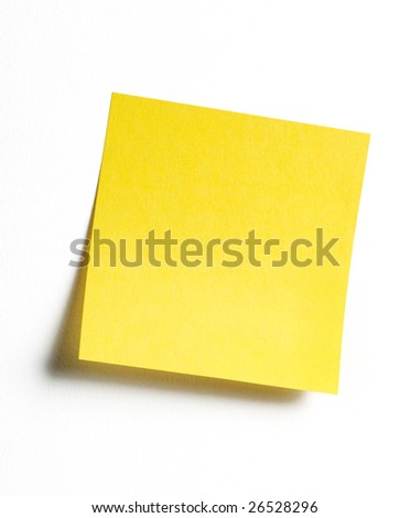 Yellow sticky note with shade